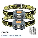 LED Running Head Torch Headlight Super Bright Mini Headlamp 4 Brightness Modes AAA Battery Powered Helmet Light for Camping/Hiking/Fishing (pack of 2 sets)
