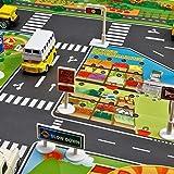 Niños Jugar Ciudad Escena Alfombra, Bebé Aprendizaje Decoración Tapete con Carretera Tráfico Bebés Educativo Coche Alfombra con Ciudad Ciudad Mapa 130cm x 100cm