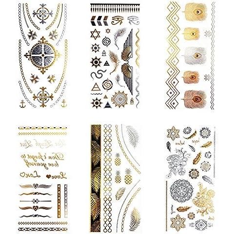 COKOHAPPY Metallico Temporanei Temporaneo Tatuaggi Tattoo , 6 Diverso Foglio Beach Style Mandala Rome Croce Lovely Sticker Etichetta ( Un Set ) Per Uomo Donna