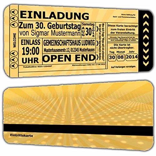 Einladungskarten als Eintrittskarte Einladung zum Geburtstag Feier Vintage Retro Look - 30 Stück Ticket Jahrgang 1988 1989