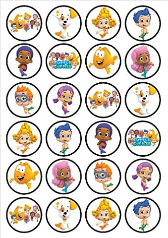 Bubble Guppies Edible PREMIUM THICKNESS SWEETENED VANILLA,Wafer Rice Paper Cupcake Toppers/Decorations by Cian's Cupcake Toppers