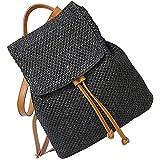 Moda bolso de paja hecha a mano playa de verano bolsa mochila de paja [Negro]