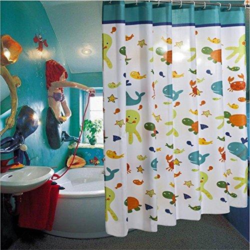 JYJSYM Bad duschvorhang Verdickung duschvorhang, Polyester duschvorhang, duschvorhang, Cartoon, Wasserdichte Vorhang, 180x180cm Dusche Vorhang, Badewanne,Ein,200x200cm