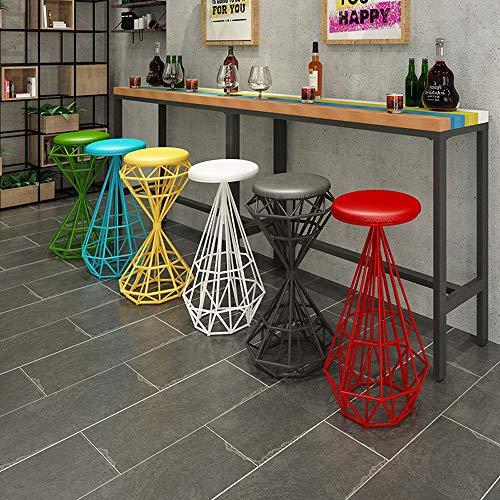 Massivholz-theke (LQ-Bar stool Industrielle Barhocker, Küchen-Frühstückshochstuhl, Holz-Pub-Sitz, gepolsterte Bistro-Rückenlehne, Theken-Pub-Café, Metallbeine (Color : Red, Size : A))