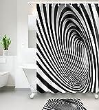 MEILI Textil-Duschvorhang aus Polyester mit Vertigo-Muster 3D-Digitaldruck, 180*200