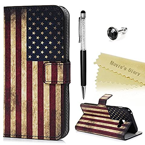 Mavis's Diary Cover for Samsung A5 ,Samsung Galaxy A5 Case (2017 Model) - Wallet Flip Bumper Cover PU Leather Case Shockproof Prints Design with Soft Inner TPU Case Magnetic Closure with Stand Folio Protective Cover with Dust Plug & Stylus Pen - American