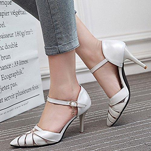 COOLCEPT Femmes Classique Pointue Mince Talon hauts Sandales Soiree Robe Chaussures Blanc