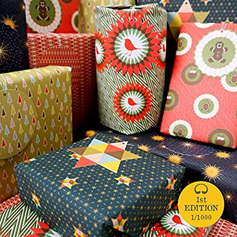 Bright Stem Christmas Wrapping Paper Folded (6) Mixed Sheets and Tags