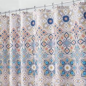 mDesign cortina de baño antimoho – Cortina ducha con 12 agujeros reforzados para un fácil montaje – Cortina bañera impermeable color marrón