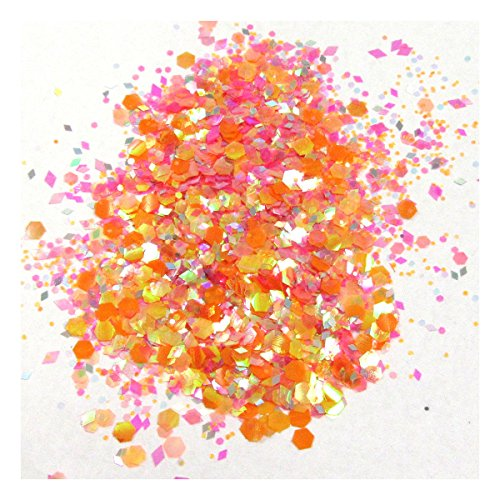 Beads4crafts GLITTER CHUNKY MIXED FACE EYE FESTIVAL COSMETIC BODY SAFE DANCE PARTY CLUB  Orange Whip 35  10 Grams