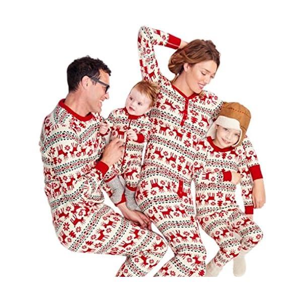 Pijamas Navidad Familia Conjunto Pantalon y Top Fiesta Manga Larga Trajes Navideños Pijama Dos Piezas Mujer Hombre Niños… 1