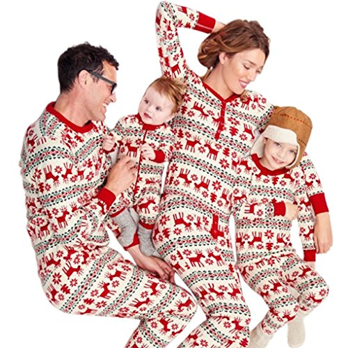 Landove Pigiama Natale Famiglia Due Pezzi Xmas Renna Pantaloni e T-Shirt  Manica Lunga Top per Mamma papà Neonato Bambino Pajamas Set da Notte  Sleepwear c55b88ea379