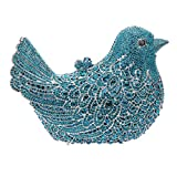 Bonjanvye Glitter Rhinestone Bird Clutch Purses Evening Clutch Bag for Girls Pure Blue
