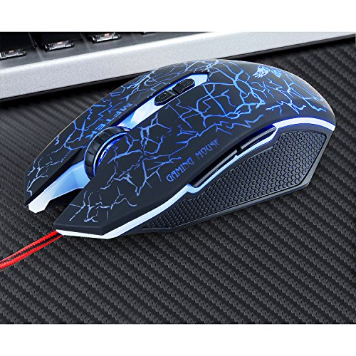 6e57d6da2aa Gaming Mouse, MFTEK USB Wired Illuminated 7 Buttons 4 LED Breathing Colours  Silent Mice with Adjustable DPI 2000/1600/1200/800 for PC Desktop Computer