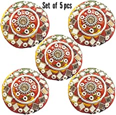 Paushak Boutique Multicolour Umbrella Button for Indian Dresses for Kurties,Gowns and Party Wears Dresses (Set of 5)