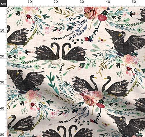 Schwan, Damast, Blumen, Frühling, Garten Stoffe - Individuell Bedruckt von Spoonflower - Design von Nouveau Bohemian Gedruckt auf Bio Musselin -