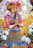 Unbekannt Puzzle 1500 Teile - Mädchen mit Hut & Sonnenschirm - Zeichnung - Gemälde - Romantisches Motiv -Prinzessin - Regenschirm / Schirm - Jugendstil - Blumen Blüten