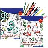 COM-FOUR® 2x Malbücher für Erwachsene zur Entspannung und Meditation in verschiedenen Ausführungen auf je 64 Seiten beidseitig bedruckt, mit 12 Buntstiften (Set 5)