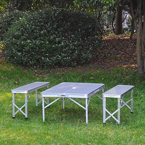 Outsunny 3pc Folding Picnic Table Bench Set Foldable Portable Outdoor ... - Outsunny 3pc Folding Picnic Table Bench Set Foldable Portable