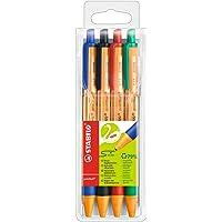 Penna a Sfera Ecosostenibile - STABILO pointball - 79% Plastica Riciclata - Astuccio da 4 - Colori assortiti