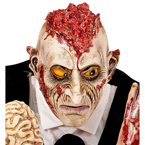 NET TOYS Zombie Maske Psycho Monstermaske offenes Gehirn Horror Zombiemaske Halloween Monster Halloweenmaske Horrormaske Bestie Grusel Faschingsmaske Untoter Karneval Kostüm Accessoires