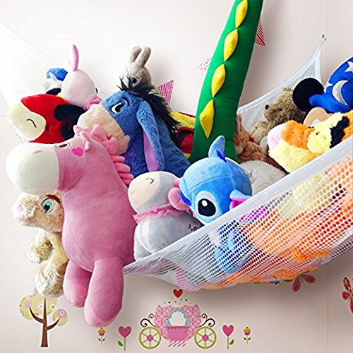 Zebrum Spielzeug Hängematte, Aufbewahrung Netz für Kuscheltiere, extra groß (213 x 150 x 150cm ) Spielzeug Organizer+Zubehör (weiß)
