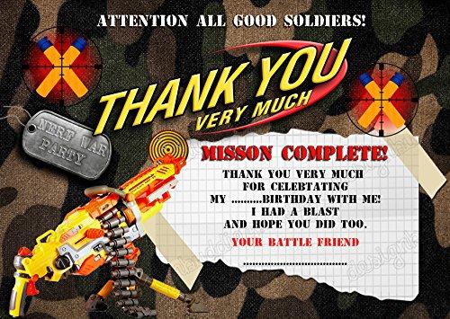 persionalized Nerf Gun/Nerf Krieg//Armee Geburtstag Party Thank You Karten für Jungen 8Stück + Umschläge