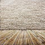 YongFoto 2,5x2,5m Vinyl Foto Hintergrund Alter Innenraum mit Backstein und Hölzernem Fußboden Ziegel Fotografie Hintergrund für Photo Booth Erwachsene Kinder persönliche Portrait Studio Requisiten
