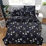 DMAI Polyester Drucken 3 Stück Bettbezug-Set, 2 Kissenbezug Atmungsaktiv 3D HD Sternenklarer Himmel Bettbezüge - Waschmaschinenfest,Blue,230X230cm