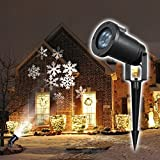Best Landscape Lights - AHYUAN Christmas Landscape Projection Lights Moving White Snowflake Review
