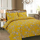 AdamLinens Luxury Duvet Cover Bedding Bed Set, Quilt Cover With Pillowcases (Claire Mustard, Double)