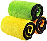 840gsm Microfiber Cleaning Cloths, Trehai Lint Free Microfiber Dual Layer Ultra-Thick Car Polishing and Drying Cloth Auto Detailing Towels (3-Pack ; 15 x 17.7 inch)