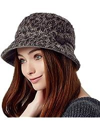 f03e3959bb0 Kenmont Women Lady Autumn Winter Warm Wool Wide Brim Bucket Hat Cap