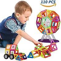UNIQUE BRIGHT Giochi magnetici 110 pz costruzioni magnetiche fai da te 3D Set blocchi giocattoli, giocattoli educativi per bambini, con custodia, alfabeti e digitale (CPC, ASTM, EN71 approvazione)
