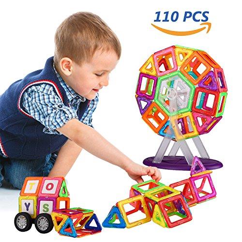 Kreativ Magnetische (Magnetische Bausteine,UNIQUE BRIGHT 110 Stück 3D Konstruktionen, kreatives pädagogisches Lernspielzeug für Kinder, mit Aufbewahrungstasche, Buchstaben und Ziffern (CPC, ASTM, EN71 geprüft))