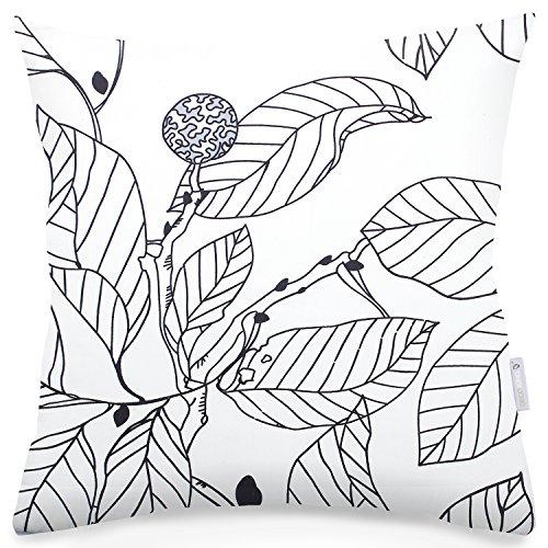 2 Kissenbezüge 40x40 cm weiß zweiseitig Blumenmuster modern Baumwolle Mako-Satin Baumwollsatin Reißverschluss Ducato Collection Coloring Page Stahl anthrazit schwarz grau -