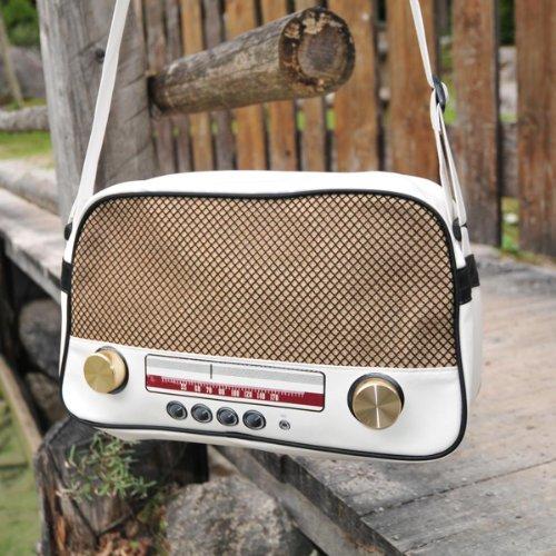 """Super Freak® Borsa """"Radio Borsa a tracolla borsa grande e orizzontale, tutti i colori. Weiß - Drehregler gold"""