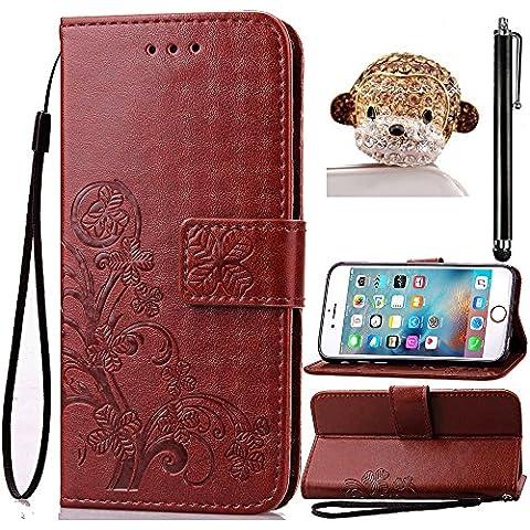 para Samsung Galaxy Note 3 N9000 N9005 Funda Libro de Suave PU Leather Cuero Impresión de la Suerte - Sunroyal Case Con Flip Carcasa Cover,Cierre Magnético,Función de Soporte,Billetera con Tapa para Tarjetas,Marrón