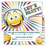 12 Lustige Einladungskarten Set Kindergeburtstag Party Emoji Smiley Disco Jungen Mädchen Kinder Top Geburtstagseinladungen Karten witzig Kopfhörer