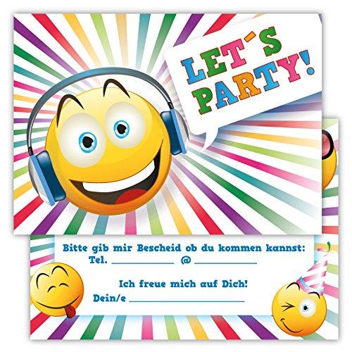 12 Lustige Einladungskarten Set Kindergeburtstag Party Emoji Smiley Disco Jungen Mädchen Kinder Top Geburtstagseinladungen Karten witzig (Kleidung Disco Für Kinder)