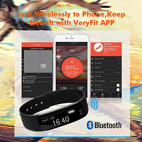 Ancheer Fitness Tracker, Activity Tracker Uhr Herzfrequenz Monitor Schritt / Schlaf / Kalorienzähler Call / SMS Erinnerung Armband Band Wasserdicht Wireless Bluetooth Wristband Smart Pedometer - 3