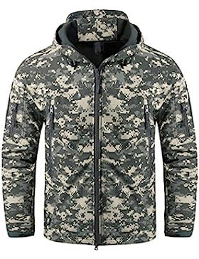 KEFITEVD Hombre Chaqueta Impermeable Camuflaje Militar Táctica Chaqueta Softshell con Capucha Chaqueta Caza Cámping...