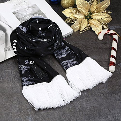 FoYoung Écharpe Douce en Coton Avec Bluetooth3.0+EDR Écouteurs Stéréo Main-Libre Compatible avec Smartphones, iPhone, PC, Tablettes, etc Treillis Noir Noir de Noël