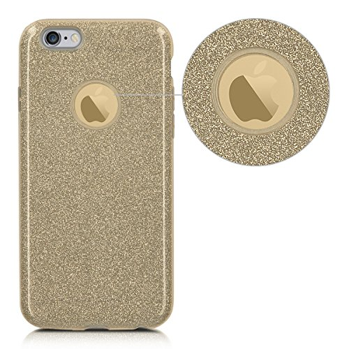 kwmobile Hülle für Apple iPhone 6 / 6S - TPU Silikon Backcover Case Handy Schutzhülle - Cover klar Indische Sonne Design Rosa Weiß Transparent Glitzer Uni Gold