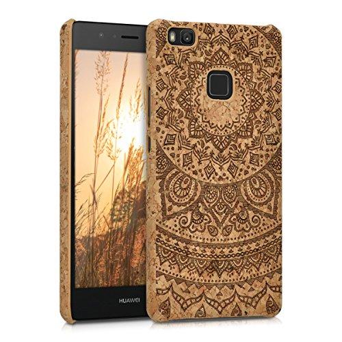 kwmobile custodia naturale in sughero per > Huawei P9 Lite < Case Cover con Design sole indiano