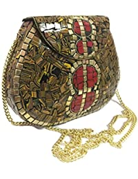 Party Sling Clutch Mosaic Bag Stone Clutch Ethnic Metal Box Bridal Wallet Indian Vintage Bag Party Clutches For... - B07FLMRKVD
