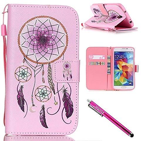 Galaxy S4 mini Hülle, PU Leder Hülle für Ledertasche Schutzhülle Case[Stand Feature] Flip Case Cover Etui mit Karte Slots Hülle für Samsung Galaxy S4 mini i9600/9192/9195