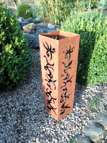 EDELROST - Fackel Laterne Stele Säule Skulptur Biokamin 60 cm Garten Eisen Rost