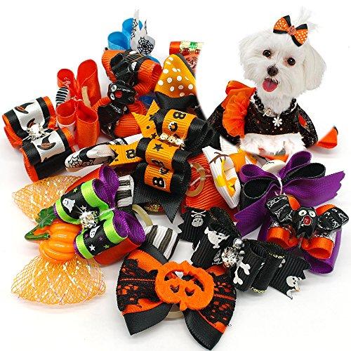 Didog 20Pcs Halloween Hund Katze Haar Schleife mit Geister und Kürbis