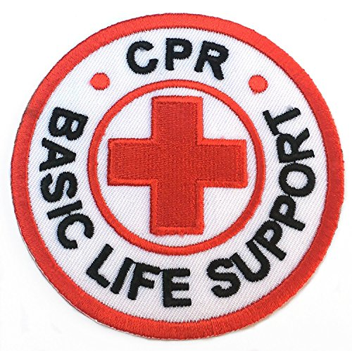 CPR Basic Life Support Patch Embroidered Iron on Badge 8 cm rot Kreuz DIY Applikation Kostüm Arzt Krankenschwester Paramedic Cosplay